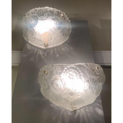 Exceptionnelle Paire D'appliques Art Déco Signée Sabino 4610 ( Applique Art Deco 1930 )