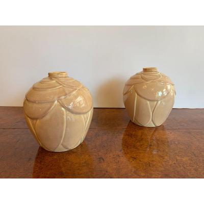"Pair Of Art Deco Ceramic Vases Model ""artichoke"" (art Deco Earthenware 1930)"