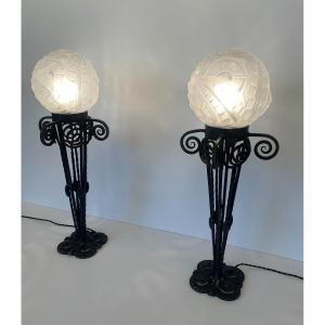Rare Et Importante Paire De Grandes Lampes Art Déco Degué ( lampe fer forgé  Art Deco 1930 )