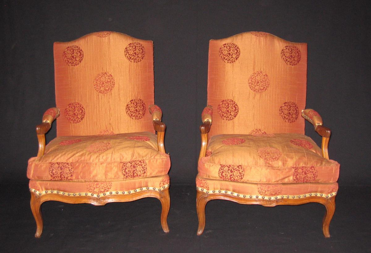 """Pair Of Armchairs """"fireside"""" Louis XV"""