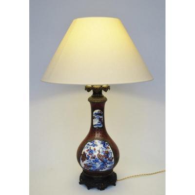 Lampe, Porcelaine Et Laque, Japon XIXe Siècle.