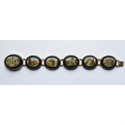 Bracelet, Micro-mosaic And Black Onyx, Gold Mounted.