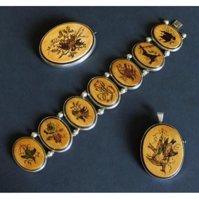 Napoleon III Ornament, Silver And Micro-marquetry.