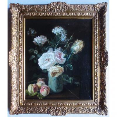 Bouquet Signé C. Gontier, XIXe Siècle.