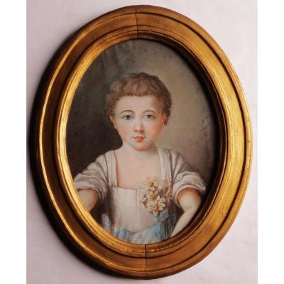 Portrait d' Éléonore, Pastel d' époque Louis XV.