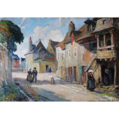 Une rue à Auray, Albert FERNAND-RENAULT.