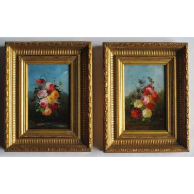 Paire De Bouquets, XIXe Siècle.