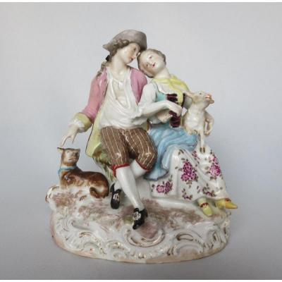Group In Porcelain From Saxony, XIXth Century.