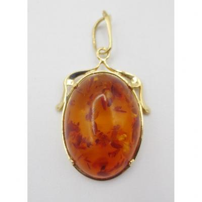 Gold And Amber Pendant.