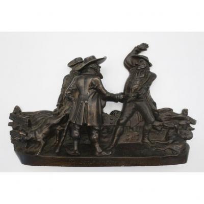 Sujet En Bronze, « Les marchands De Cochons» XIXe Siècle.