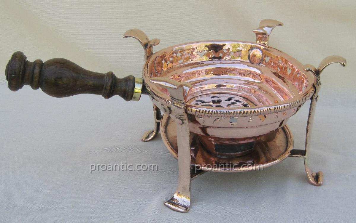 Réchaud de table, à braise, en cuivre. XVIIIe s.-photo-2