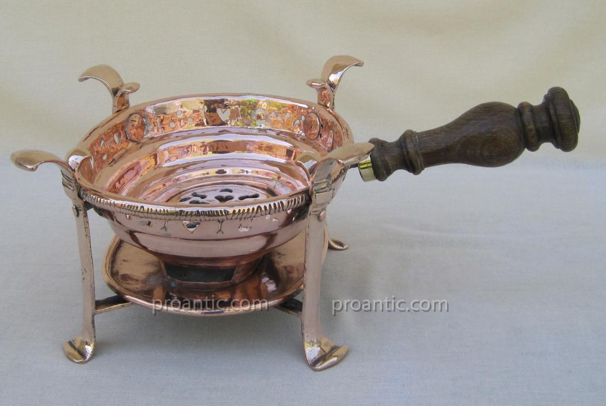 Réchaud de table, à braise, en cuivre. XVIIIe s.-photo-1