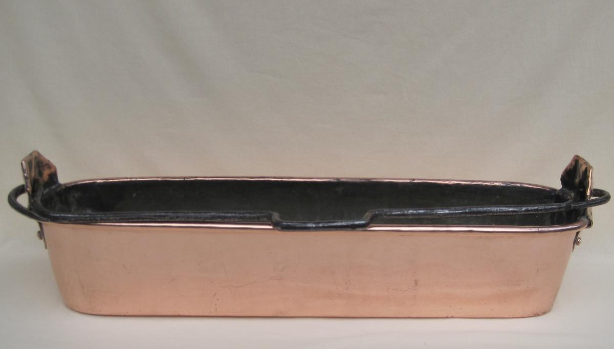 Poissonnière en cuivre. Poinçon HAMEL à RENNES. XVIIIe s.-photo-3