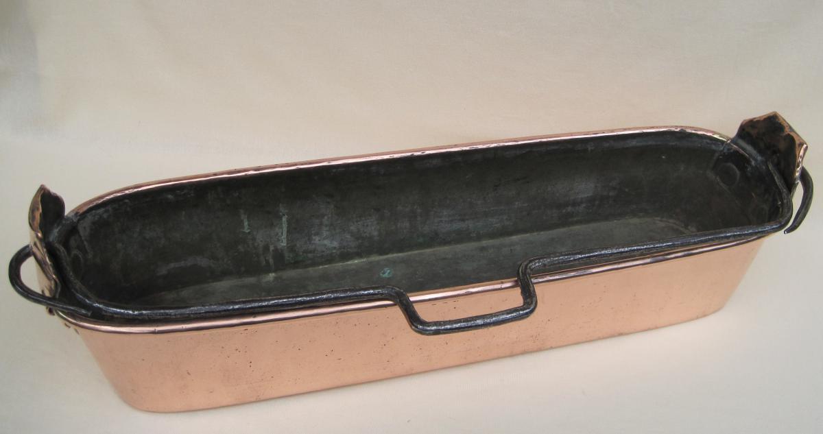 Poissonnière en cuivre. Poinçon HAMEL à RENNES. XVIIIe s.-photo-4