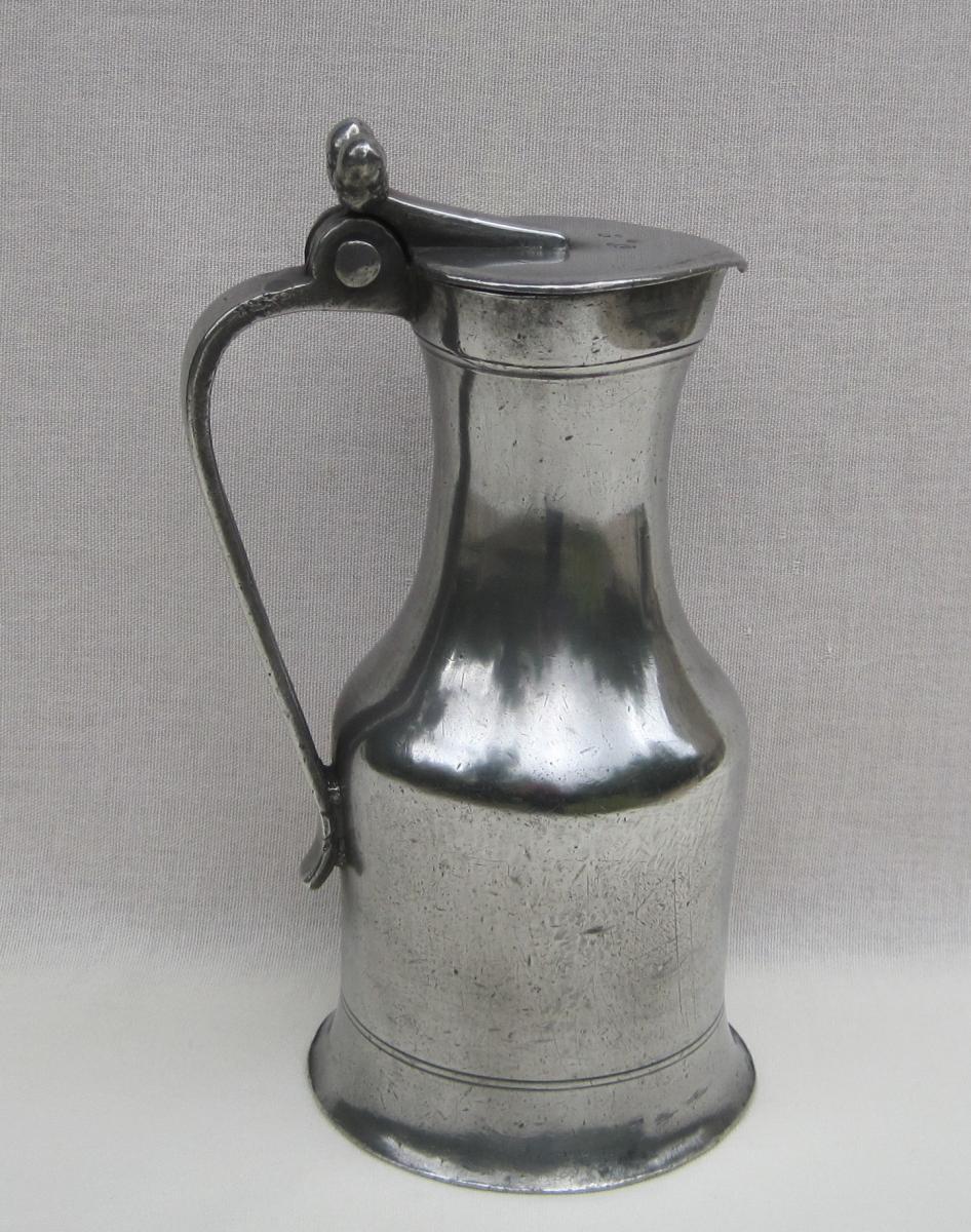 Tin Pitcher. Rouen. 18th Century.