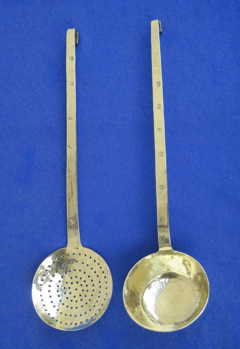 Ladle And Skimmer Assorted, Brass. Hearts Decor. XVIII