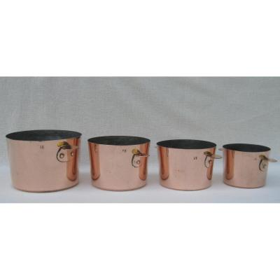 Homogeneous Series Of 4 Charlotte Molds With Ears, In Copper. 19th Century.