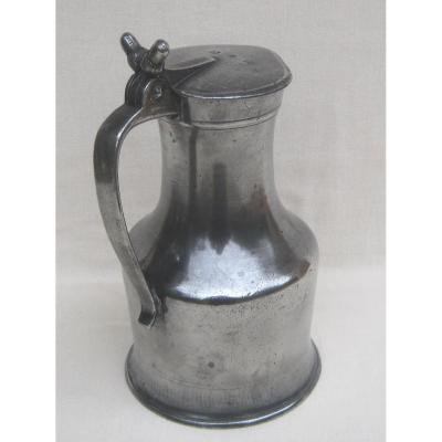 Pitcher In Pewter. Caen And Its Region. Late Eighteenth-early Nineteenth Century.