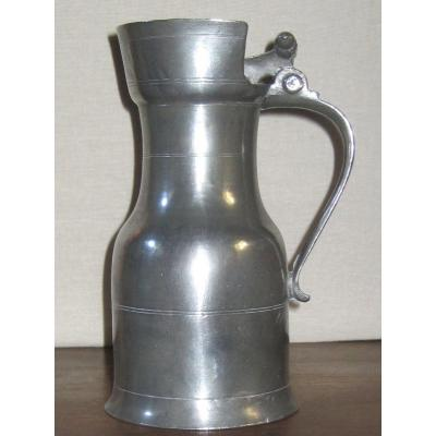 Pewter Pitcher. Nemours. 18th Century.