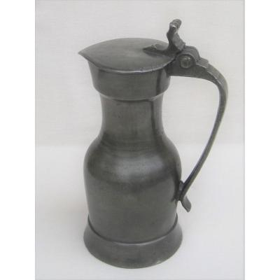 Pewter Pitcher. Paris. End Of The 18th Century.
