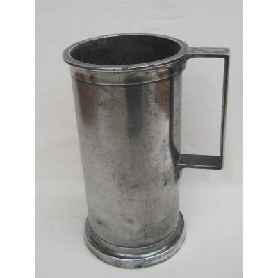 Measure Of 2 Liters, In Pewter. 19th Century.