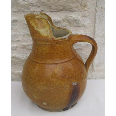 Pottery. Cider Pitcher With Spout. Ligron. 19th Century.