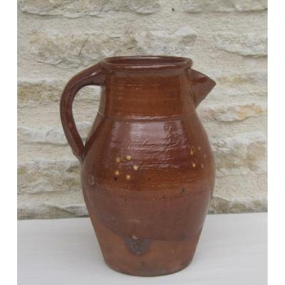Pottery. Terracotta Pitcher. Alsace? 19th Century.