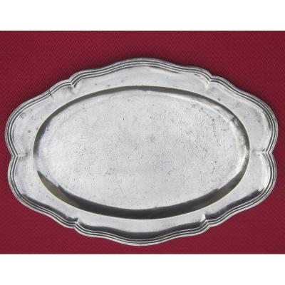 Large Oblong Dish, In Pewter. 46.5 Cm. 18th Century.