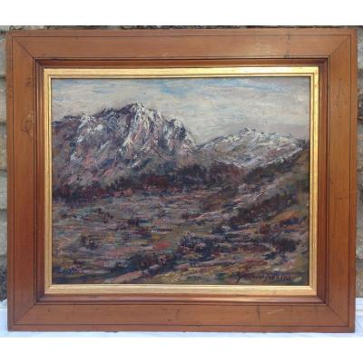 Oil On Cardboard Signed Germaine Francoz Mountain Landscape, Savoie