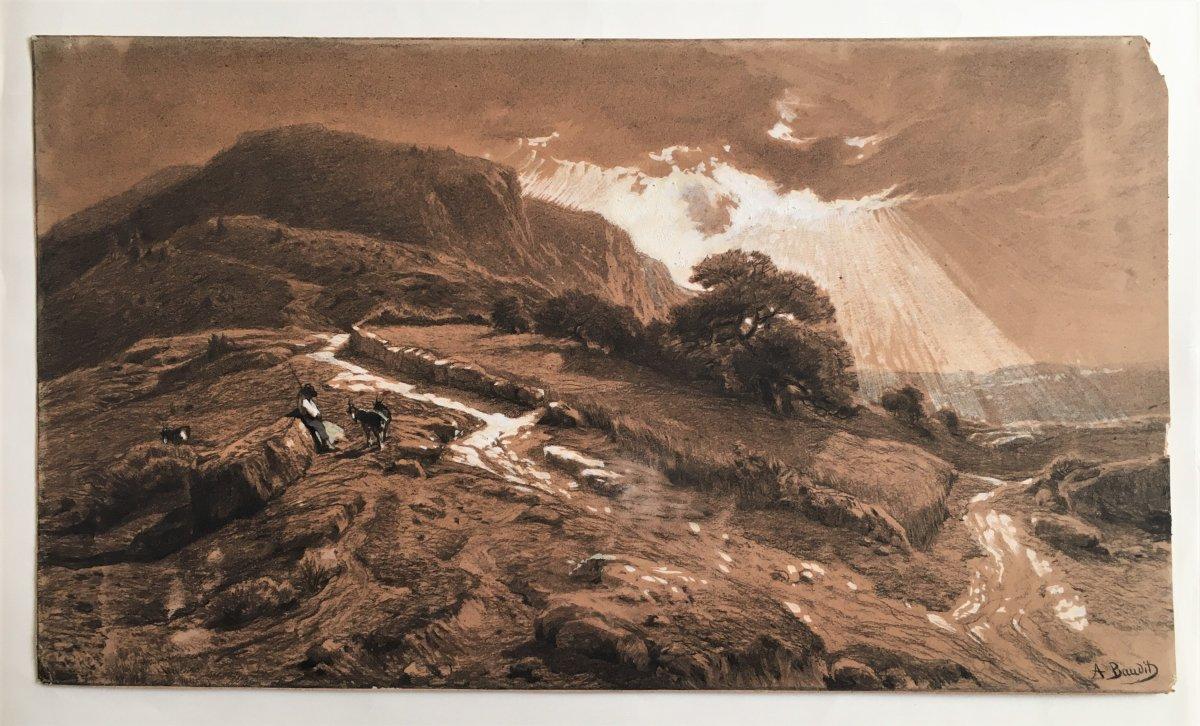 Amédée Baudit 1825/1890 Landscape Of The Pyrenees Large Drawing