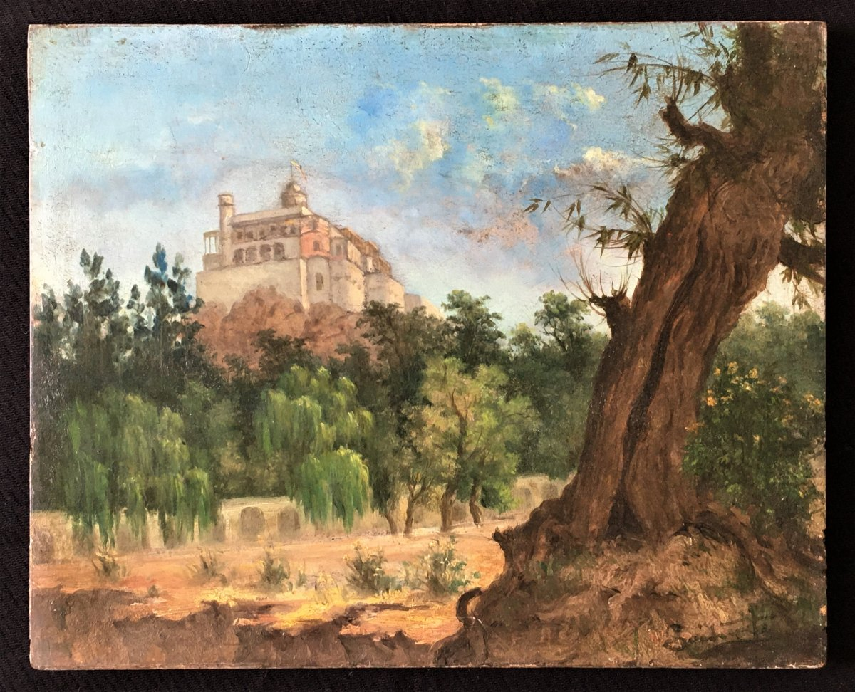 Paysage Au Château Hsp d'Acajou Du 19ème Signature à Identifier