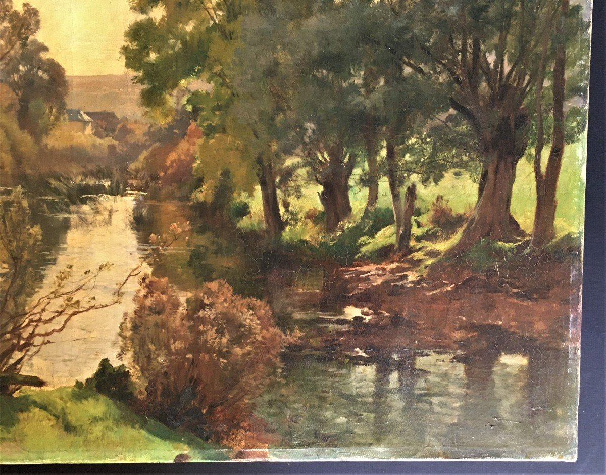 Emile Charles Dameron 1848/1908 Landscape With A Pond-photo-2