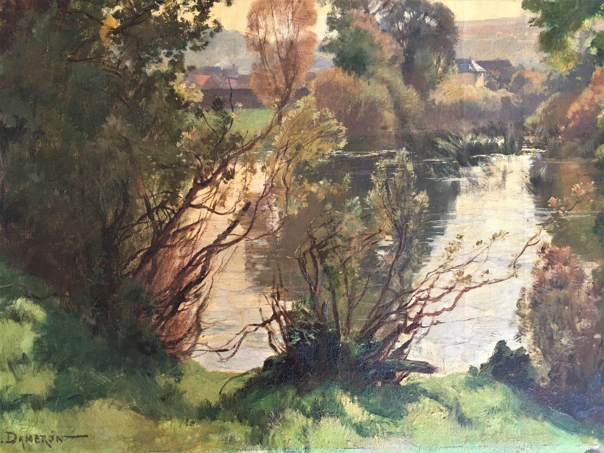 Emile Charles Dameron 1848/1908 Landscape With A Pond-photo-6
