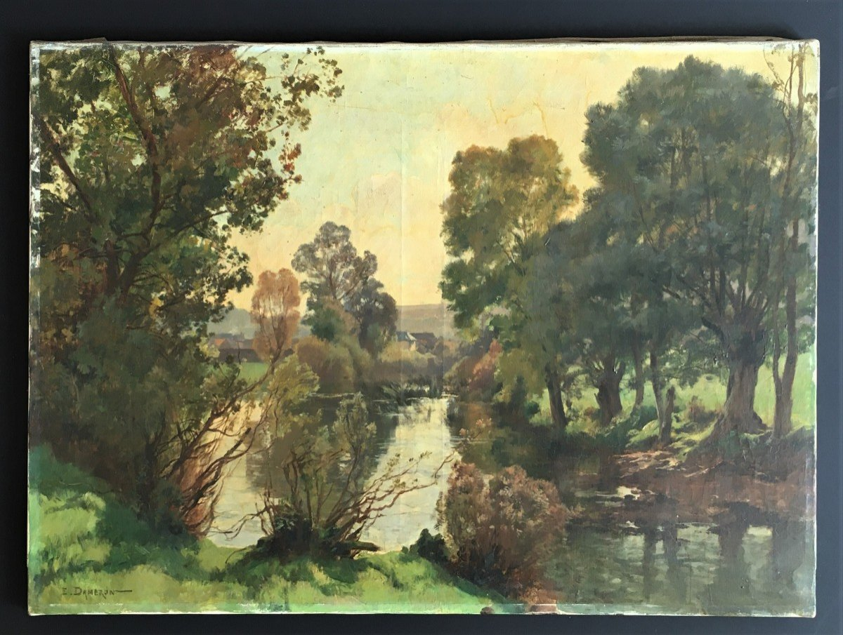 Emile Charles Dameron 1848/1908 Landscape With A Pond-photo-7