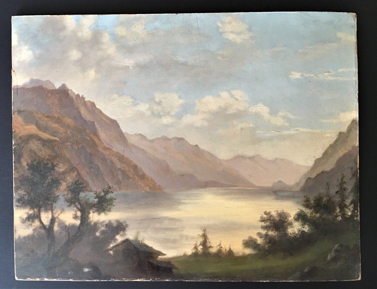 Oil On Cardboard Landscape Of The Alps From The 19th