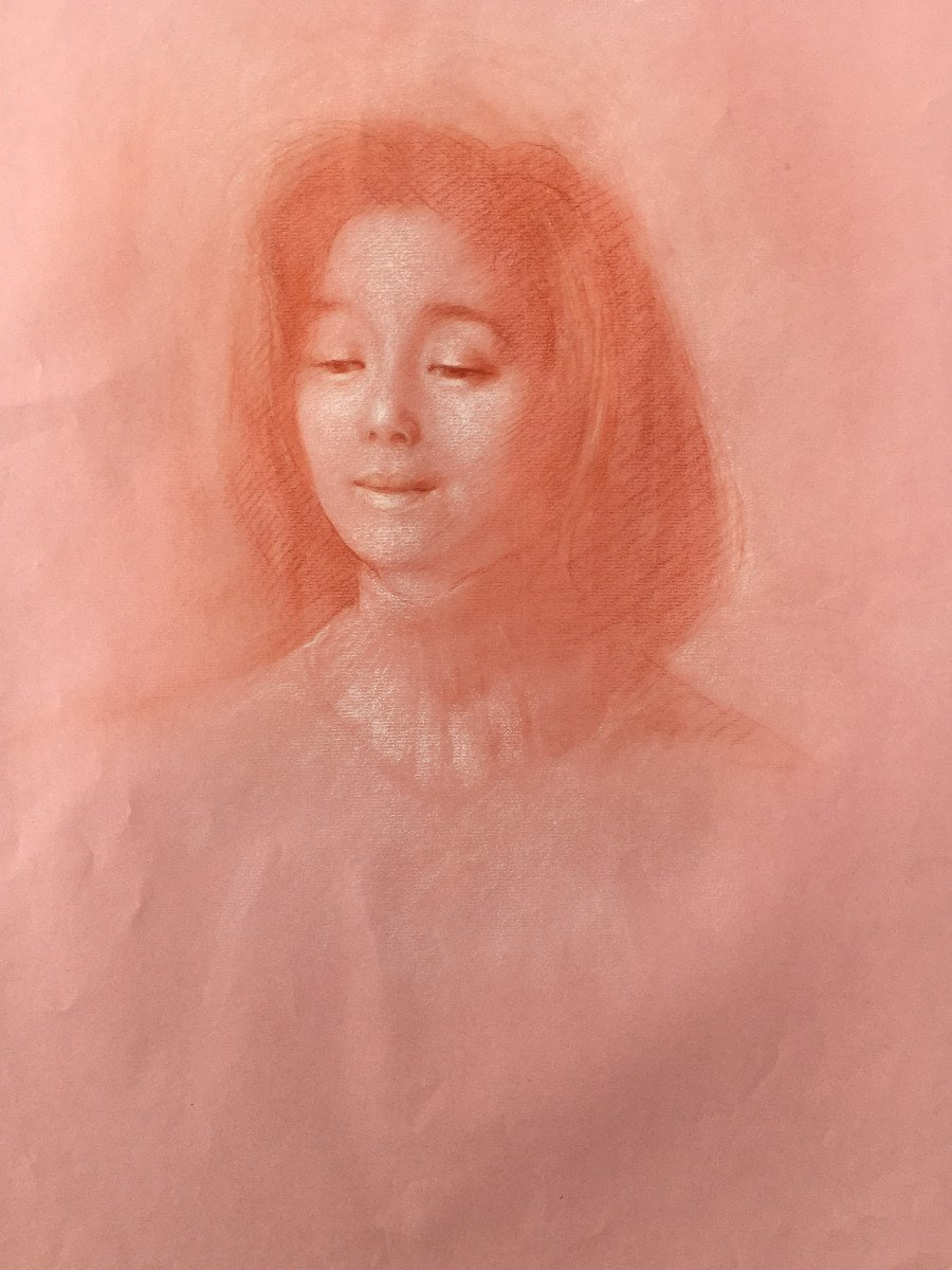 Jean Claude Janet 1918/2008 Sanguine Portrait Of Young Girl Workshop Stamp-photo-2