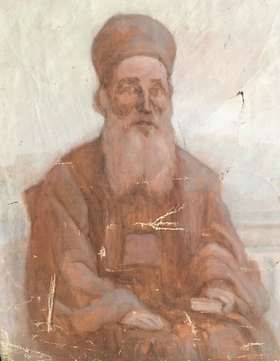 Orientalism Sketch Portrait Of A Wise Old Man  From The 19th-photo-3