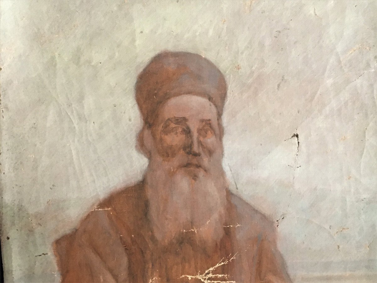 Orientalism Sketch Portrait Of A Wise Old Man  From The 19th-photo-2