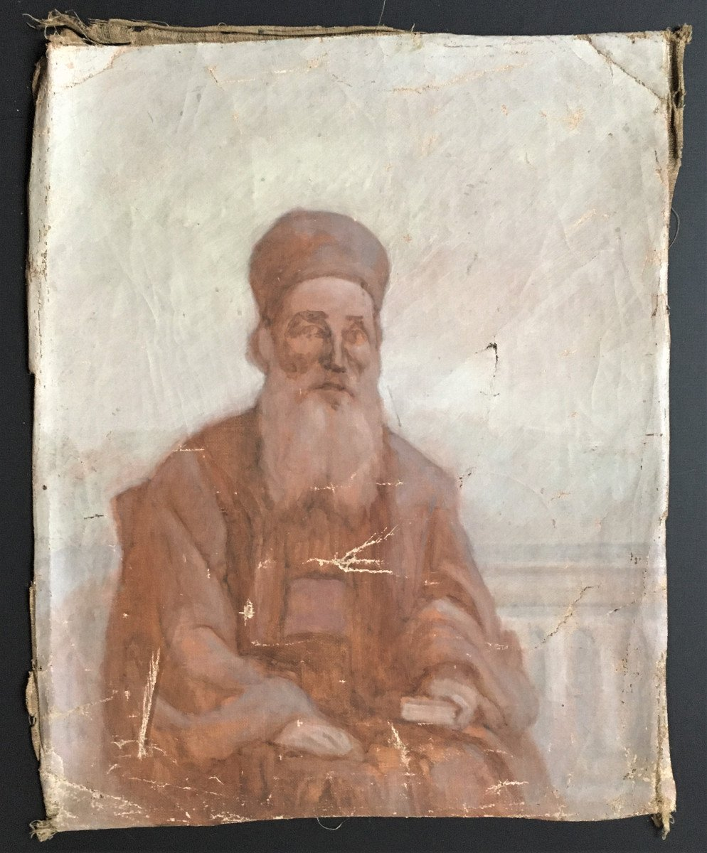 Orientalism Sketch Portrait Of A Wise Old Man  From The 19th