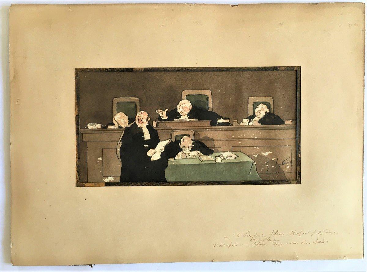 Eugène Cotten 1840/1902 Scène De Tribunal Aquarelle Originale-photo-2