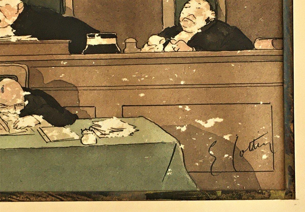 Eugène Cotten 1840/1902 Scène De Tribunal Aquarelle Originale-photo-1