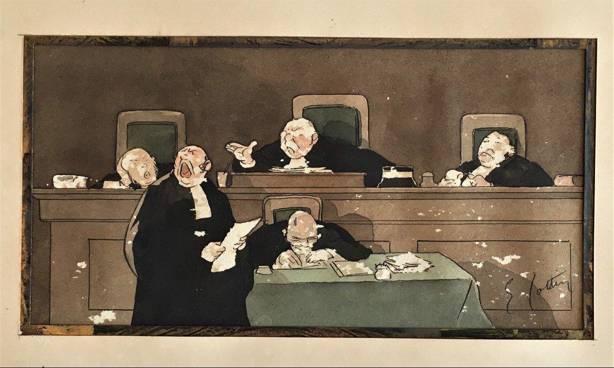 Eugène Cotten 1840/1902 Scène De Tribunal Aquarelle Originale