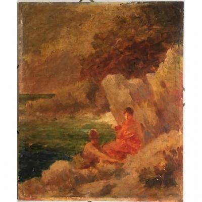 """Gabriel Griffon 1866/1938 Huile Sur Panneau """" Femmes Sur Le Rivage """""""