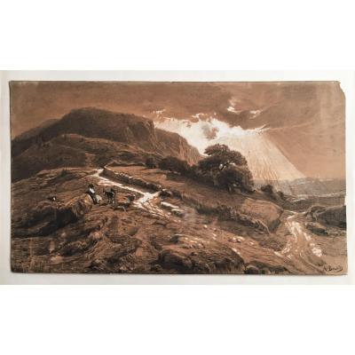 Amédée Baudit 1825/1890 Paysage Des Pyrénées Grand Dessin