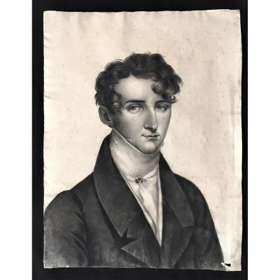 Large Drawing Around 1830 Portrait Of Young Man
