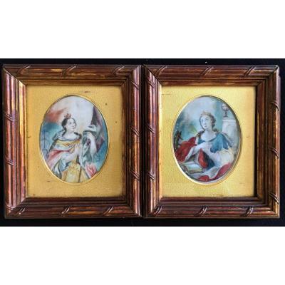 Catherine I De Russie, Paire De Miniatures, Gouaches Sur Vélin Du XVIIIème