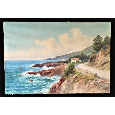 Menton Pointe De Garavan Large Watercolor From The 19th