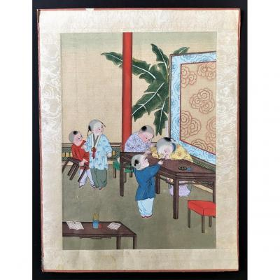 China, Ink On Silk, Literate Children