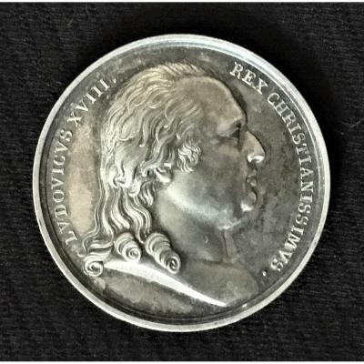 Louis XVIII 1816 Silver Medal For His Reign By Andrieu