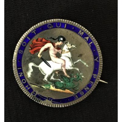 Enamelled Silver Brooch In A Piece From 1820 Georges III Of England